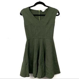 Fit and flare army green cocktail dress